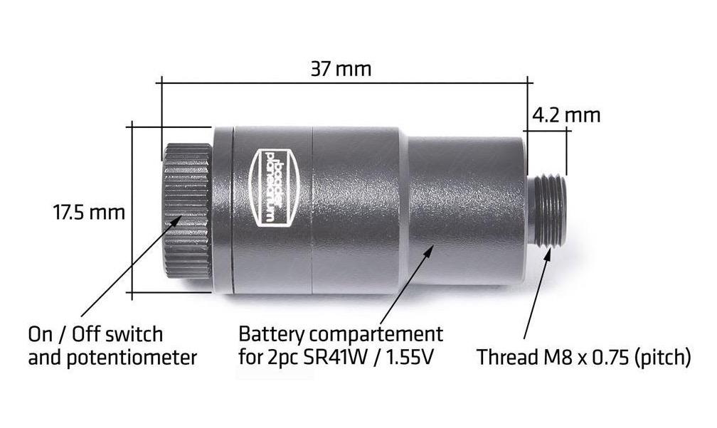 Illuminatore per Micro Guide, versione nera (incluse 2 batterie SR41, 1.4V)