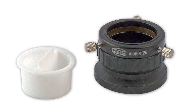 """Portaoculari con focheggiatore elicoidale da 1¼"""" (31.8mm) e filettatura T-2 (escursione 5mm). Dotato di tre viti per serraggio e sistema di focheggiatura tramite rotazione. Inclusa vite di blocco per il focheggiatore."""