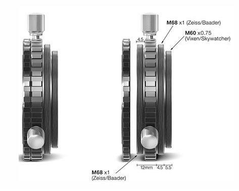 """Portaoculare ultra corto da 2"""" con filetto M68 maschio e adattatore M68 filettato per robusto fissaggio in combinazione con FFC o il sistema solare TZ (adatto anche per 18, montaggio su C11/C14)"""