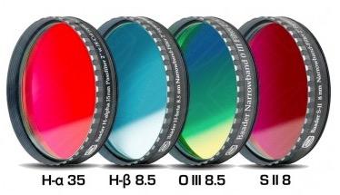 """Set Filtri Banda Stretta da 2"""" (50.8mm) per CCD e reflex, composto da 4 filtri : H-alpha (banda 35nm), H-beta (banda 8.5nm), O III (banda 8.5nm), S-II (banda 8nm)"""