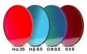 Set Filtri Banda Stretta per CCD e reflex, composto da 4 filtri : H-alpha (banda 35nm), H-beta (banda 8.5nm) da 50.4mm e O III (banda 8.5nm), S-II (banda 8nm)
