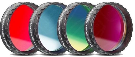 """Set Filtri Banda Stretta da 1¼"""" (31.8mm) per CCD, composto da 4 filtri : H-alpha (banda 7nm), H-beta (banda 8.5nm), O III (banda 8.5nm), S-II (banda 8nm) con celle a basso profilo"""