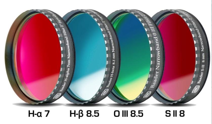 """Set Filtri Banda Stretta da 2"""" (50.8mm) per CCD, composto da 4 filtri : H-alpha (banda 7nm), H-beta (banda 8.5nm), O III (banda 8.5nm), S-II (banda 8nm) con celle a basso profilo"""