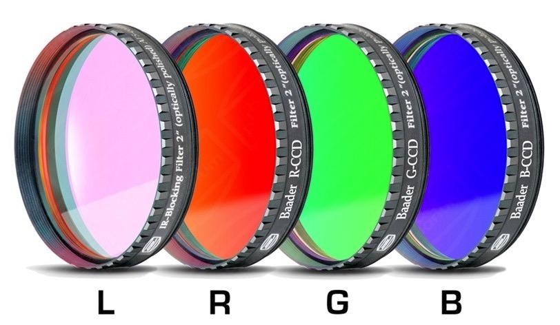 """Set di filtri LRGB parafocali da 2"""" (50.8mm, spessore vetro 2mm), per CCD, con celle a basso profilo (LPFC)"""