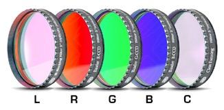 """Set di filtri LRGBC parafocali da 2"""" (50,8mm, spessore vetro 2mm) con celle a basso profilo (LPFC)"""