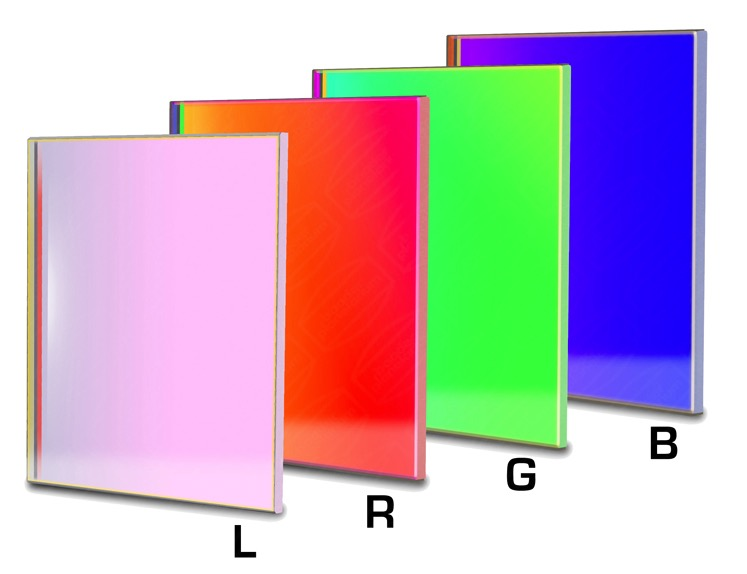 Set di filtri LRGB parafocali quadrati da 50x50mm per CCD (spessore vetro 3mm)