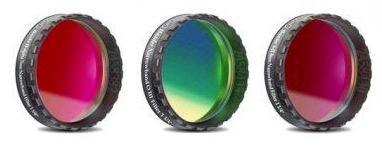 """Set Filtri Banda Stretta da 1¼"""" (31.8mm) per CCD, composto da 3 filtri : H-alpha (banda 7nm), O III (banda 8.5nm), S-II (banda 8nm) con celle a basso profilo"""
