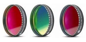 """Set Filtri Banda Stretta da 2"""" (50.8mm) per CCD, composto da 3 filtri : H-alpha (banda 7nm), O III (banda 8.5nm), S-II (banda 8nm) con celle a basso profilo. Spessore vetro 2mm"""