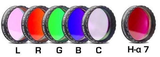 """Set Completo di Filtri LRGBC + H-alpha (banda 7nm) da 1¼"""" (31.8mm) per riprese CCD, con celle a basso profilo. Spessore vetro 2mm"""