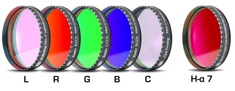 """Set Completo di Filtri LRGBC + H-alpha (banda 7nm) da 2"""" (50.8mm) per riprese CCD, con celle a basso profilo. Spessore vetro 2mm"""