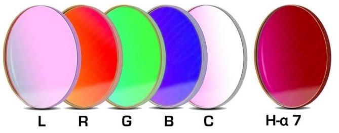 Set Completo di Filtri LRGBC + H-alpha (banda 7nm) da 50.4mm per riprese CCD, non montati in cella. Spessore vetro 2mm