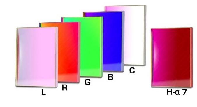 Set Completo di Filtri LRGBC + H-alpha (banda 7nm) quadrati da 50x50mm, per riprese CCD, non montati in cella. Spessore vetro 3mm
