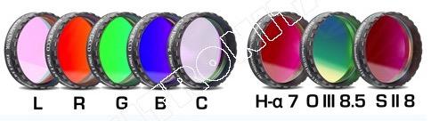"""Set Completo di Filtri LRGBC + H-alpha (banda 7nm) , OIII (banda 8.5nm) ed SII (banda 8nm), da 1¼"""" (31.8mm) per riprese CCD, con celle a basso profilo. Spessore vetro 2mm"""