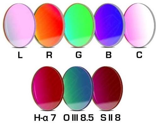 Set Completo di Filtri LRGBC + H-alpha (banda 7nm) , OIII (banda 8.5nm) ed SII (banda 8nm), da 36mm, per riprese CCD, non montati in cella. Spessore vetro 2mm