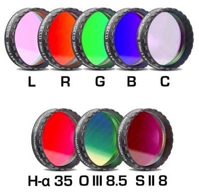 """Set Completo di Filtri LRGBC + H-alpha (banda 35nm) , OIII (banda 8.5nm) ed SII (banda 8nm), da 1¼"""" (31.8mm), per riprese CCD, con celle a basso profilo. Spessore vetro 2mm"""