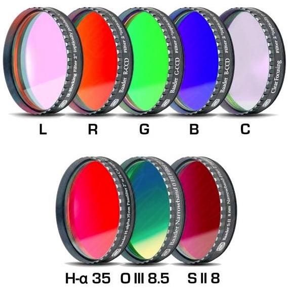 """Set Completo di Filtri LRGBC + H-alpha (banda 35nm) , OIII (banda 8.5nm) ed SII (banda 8nm), da 2"""" (50.8mm), per riprese CCD, con celle a basso profilo. Spessore vetro 2mm"""