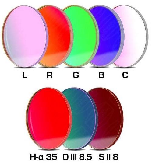 Set Completo di Filtri LRGBC + H-alpha (banda 35nm) , OIII (banda 8.5nm) ed SII (banda 8nm), da 50.4mm, per riprese CCD, non montati in cella. Spessore vetro 3mm