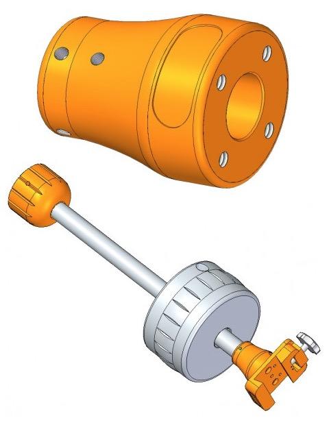 Questa boccola di raccordo montata all'estremità dell'asta cotrappesi vi permetterà il montaggio di un telescopio supplementare o di una camera CCD o fotografica, potendo così utilizzare il movimento della montatura.