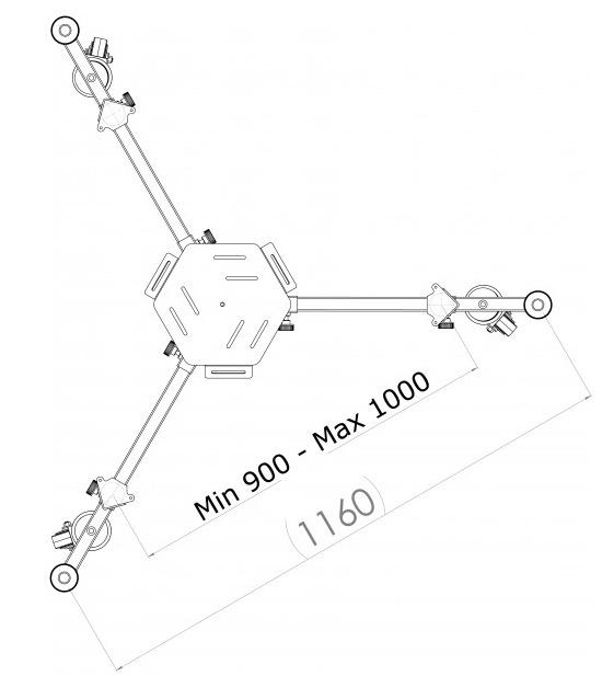 Carrello in acciaio inox per il trasporto di telescopi montati