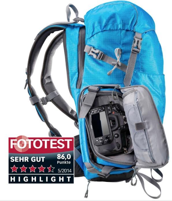 Zaino Mantona blu per trekking outdoor e borsa fotografica incorporata