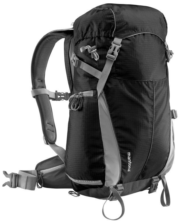 Zaino Mantona nero per trekking outdoor e borsa fotografica incorporata