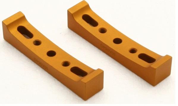 Coppia di supporti sagomati, in alluminio, per tubi ottici da 200 fino a 350mm di colore arancione