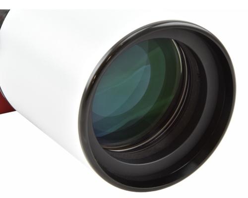 Tripletto apocromatico in FPL-53 da 65mm di diametro (focale 420mm, f/6.5) con spianatore integrato