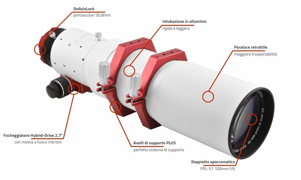 """Doppietto apocromatico in FPL-51 da 100mm e 600mm di focale, f/6 - focheggiatore 2,7"""""""