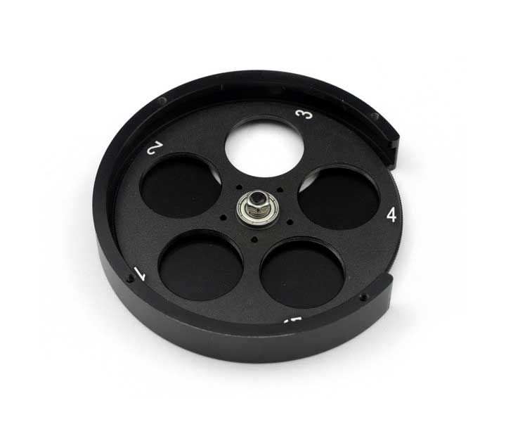 """High-grade filter wheel for five 1.25"""" filters for astrophotography and visual observation from ZWO [EN]"""