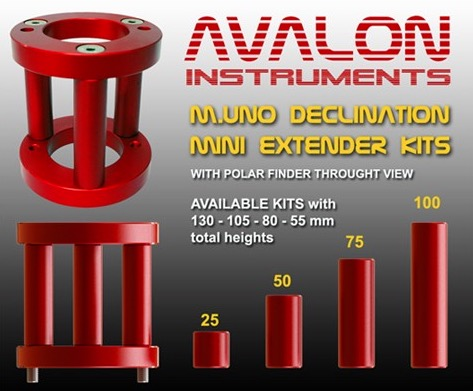 Mini estensore declinazione per montatura M-uno - Altezza complessiva 105mm
