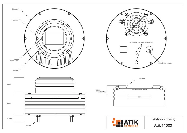Atik 11000 Color con 11 MP - 9µm - con una dimensione del sensore di 37x26mm