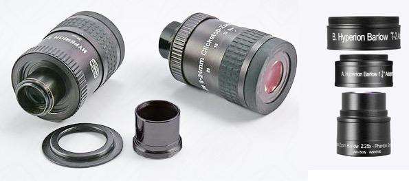 Oculare Hyperion Zoom f. 8-24 mm MK III click-stop diametro 31,8/50,8mm + Lente di Barlow Hyperion 2.25x