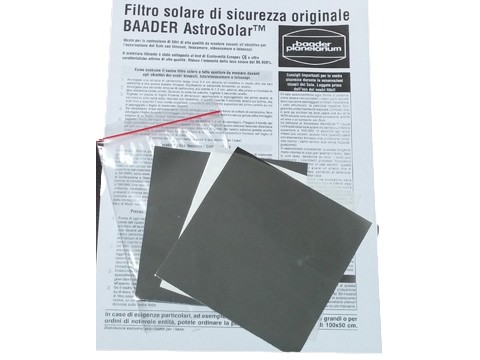 Filtro solare AstroSolar fotografico, densità ND=3.8. Foglio formato 10x10cm. SOLO PER USO FOTOGRAFICO