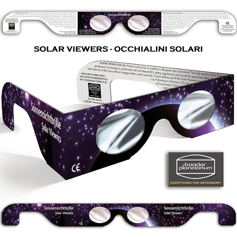 Occhialino per eclisse - Solar Viewers con Baader AstrosolarTM Silver film - densità 5,0