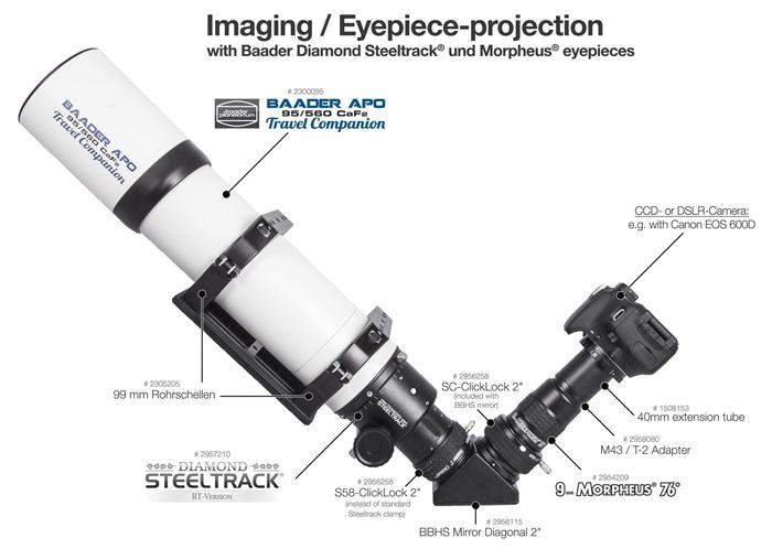 """Focheggiatore Baader Diamond Steeltrack® BDS da 2"""" per rifrattori. Escursione utile 80mm. Inclusi raccordo da 3.3"""" e riduzione 2"""""""