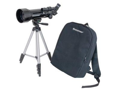 Telescopio Compatto TravelScope 70, con accessori, treppiede in alluminio e zaino da trasporto.