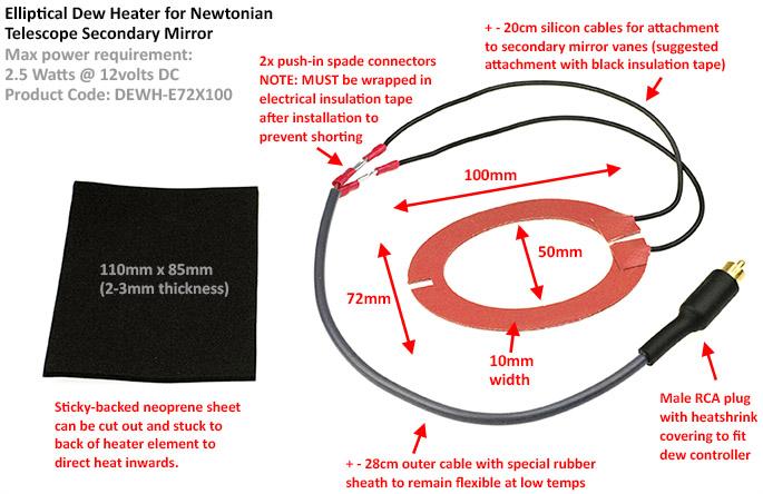 DewZapper Dew Heater for Newtonian Secondary Mirror 72 x 100mm Elliptical Split type [EN]