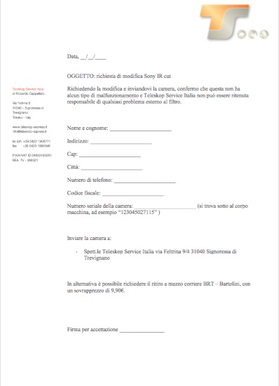 Rimozione Ircut Sony A7 - A7r - A7scon richiesta ritiro del pacco al corriere Bartolini