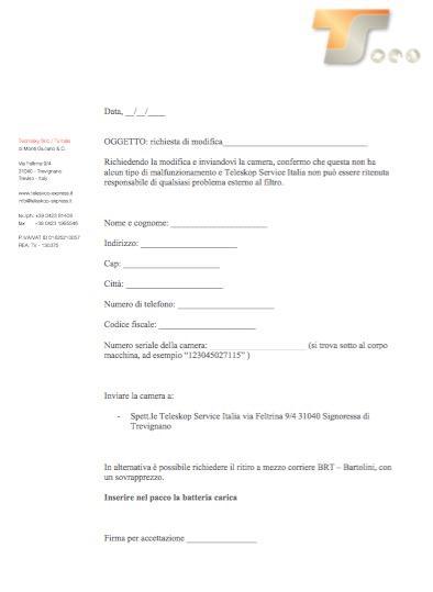 Rimozione Ircut Pentax Aps-ccon richiesta ritiro del pacco al corriere Bartolini