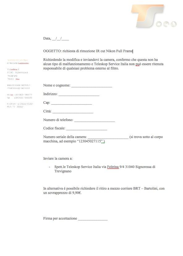 Rimozione Ircut Nikon Full Framecon richiesta ritiro del pacco al corriere Bartolini