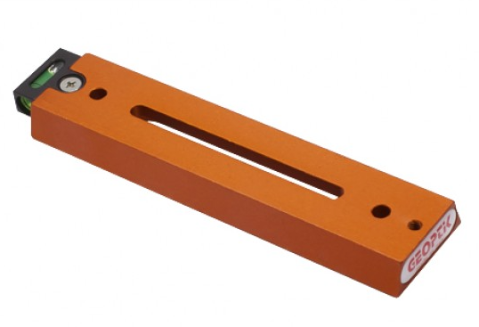 Barra a coda di rondine Vixen 170mm con asola e bolla di livello di colore arancione