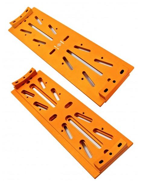 Slitta Losmandy compatibile con sagome per tubi da diam. 200 a diam. 350 mm di colore arancione