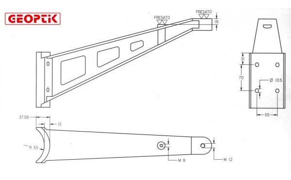 Kit piedini in fusione d'alluminio per tubo di diametro 110 mm.