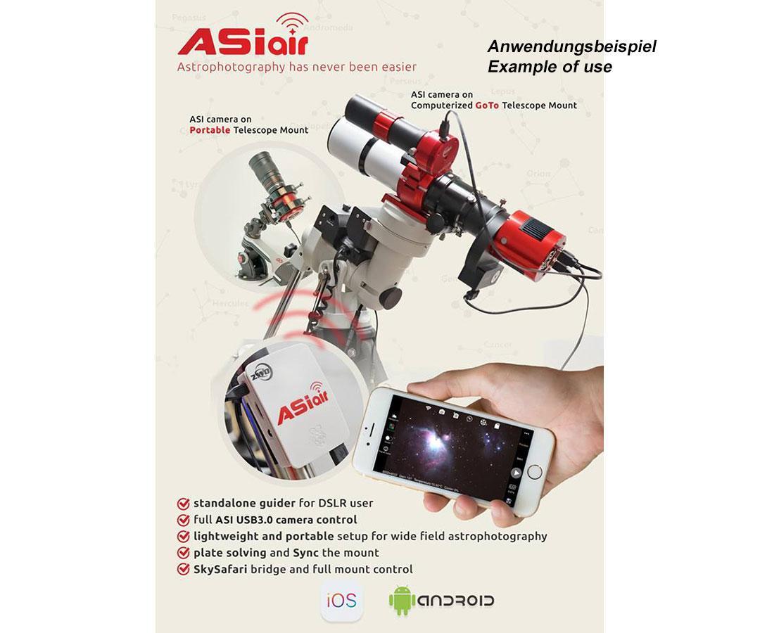 Asi Air è un dispositivo Wifi che permette di controllare tutte le camere ASI Usb 3.0 direttamente con Tabelt, Smartphone e IPad