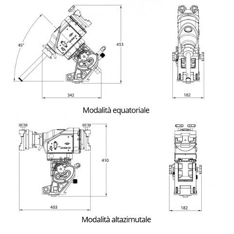 Le dimensioni di ingombro della AZ EQ6 Synscan