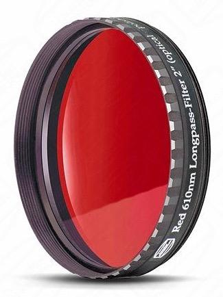 """Filtro Rosso visuale da 2"""" (50.8mm). Banda passante a partire da 610nm"""