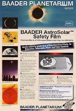 Filtro solare AstroSolar visuale, densità ND=5.0. Foglio formato A4 20x30cm. Per costruire filtri solari per osservazioni sicure di alta qualità con qualsiasi telescopio