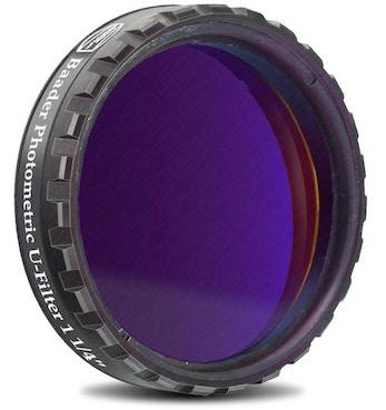 """Filtro Fotometrico U da 1¼"""" (31.8mm), con cella a basso profilo (spessore vetro 4mm) per fotometria UBVRI"""
