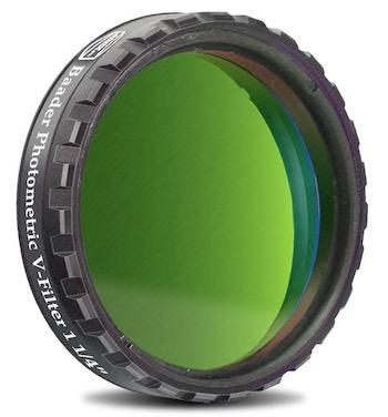 """Filtro Fotometrico V da 1¼"""" (31.8mm), con cella a basso profilo (spessore vetro 4mm) per fotometria UBVRI"""