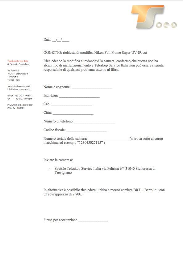 Modifica Full Frame Super UV-IR cut per Nikoncon richiesta ritiro del pacco al corriere Bartolini